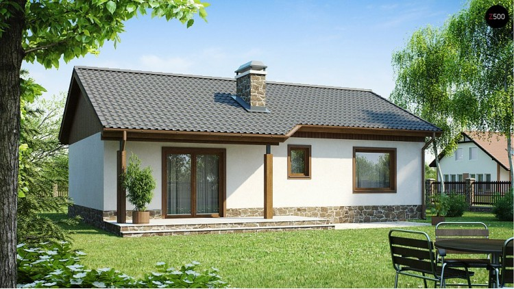 Проект экономичного в реализации одноэтажного дом с просторной гостиной и двумя спальнями - Z72