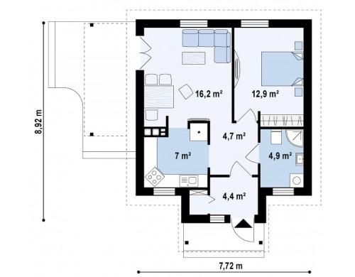 Проект маленького уютного дома с функциональной планировкой. Оснащен всем необходимым для постоянного проживания - Z73