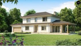 Проект итальянской двухэтажной виллы с крытой боковой террасой и большим гаражом - Z74