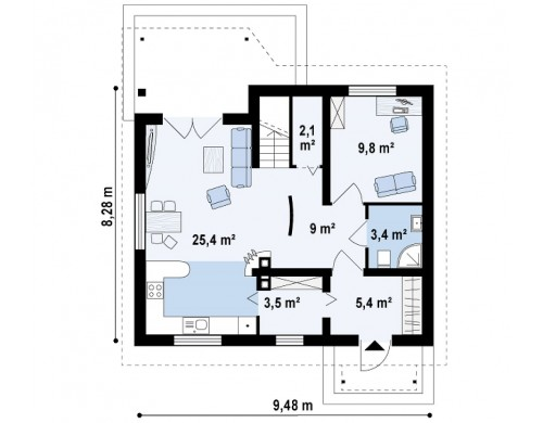 Проект простого и экономичного дома с мансардой и дополнительной комнатой на первом этаже - Z75