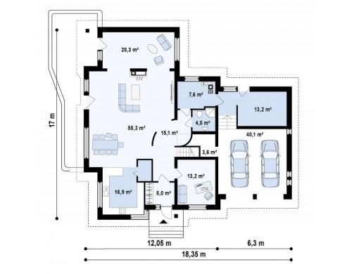 Проект особняка с гаражом для двух авто - Z76