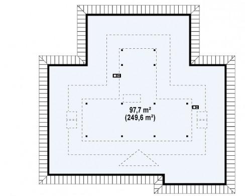 Проект просторного одноэтажного дома с возможностью обустройства мансарды - Z77