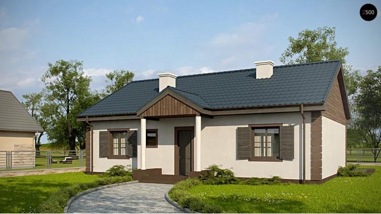Проект Z8 v2 Одноэтажный коттедж подвариант Z8 с измененной планировкой комнат.  Проекты домов и гаражей
