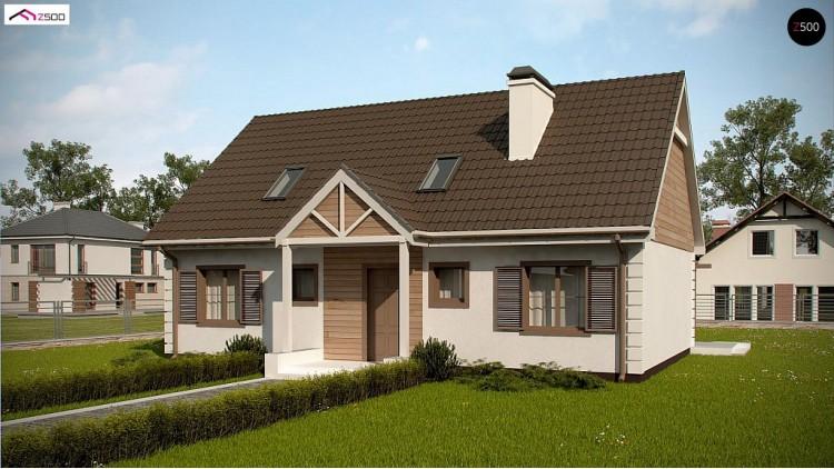 Проект Z8 B 40 Удобный дом с двускатной кровлей и мансардным этажом  Проекты домов и гаражей