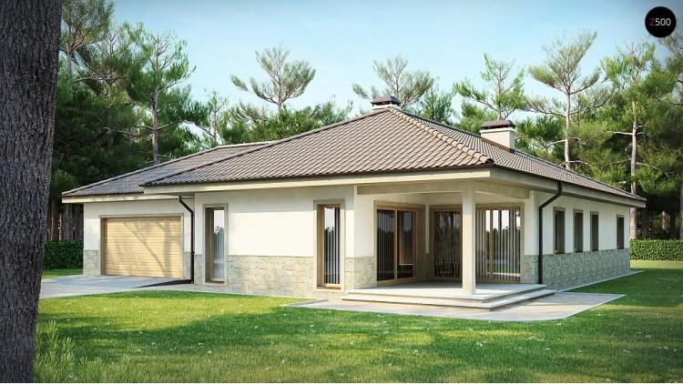 Проект одноэтажного дома в скандинавском стиле с дополнительной фронтальной террасой и гаражом на две машины - Z80