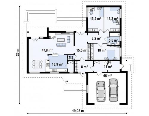 Проект одноэтажного дома с выступающим фронтальным гаражом - Z81