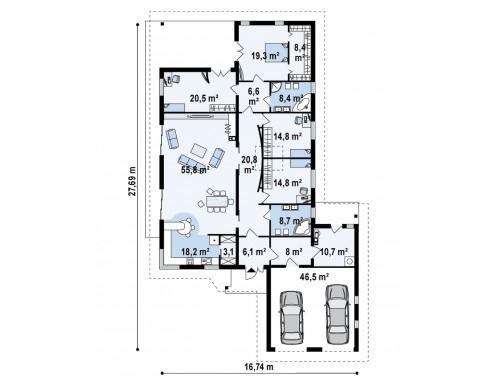 Проект одноэтажного дома для продольного участка с большим гаражом, с возможностью обустройства мансарды - Z82