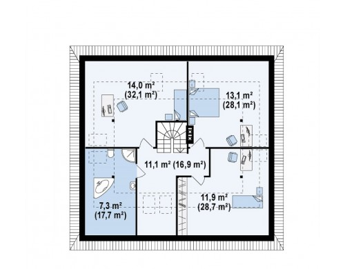 Проект традиционного дома с мансардой, с большим углом наклона крыши - Z84