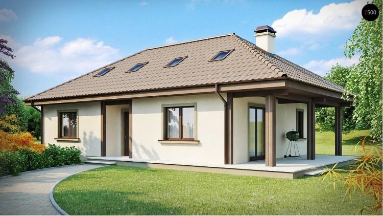 Проект дома с крытой боковой террасой и дополнительной гостиной на мансарде - Z85