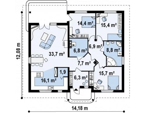 Проект Z86 bG Версия проекта Z86 без гаражного помещения, с некоторыми изменениями в планировке.  Проекты домов и гаражей