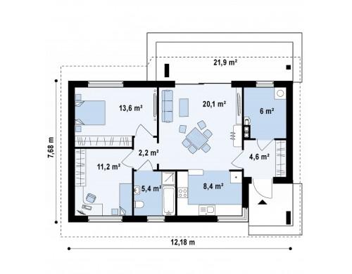 Проект выгодного компактного одноэтажного дома с угловым окном в кухне - Z87