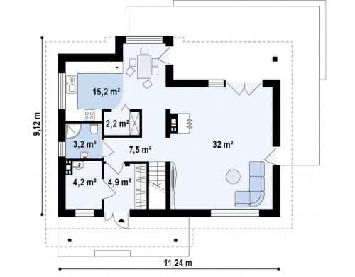Проект дома с современными элементами архитектуры - Z89