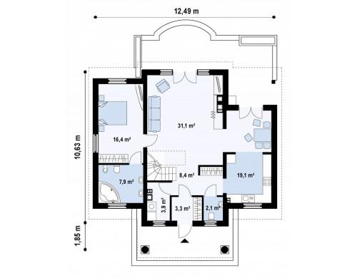 Проект одноэтажного дома с мансардой и дополнительной спальней на первом этаже - Z9.