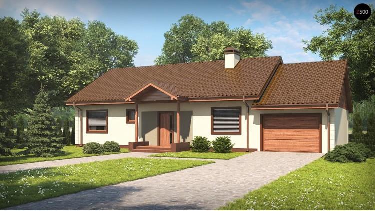 Проект Z91 GP Версия проекта Z91 с гаражом, пристроенным справа.  Проекты домов и гаражей