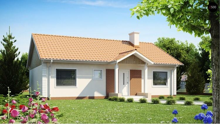 Проект одноэтажного дома простой формы с двускатной крышей Z91