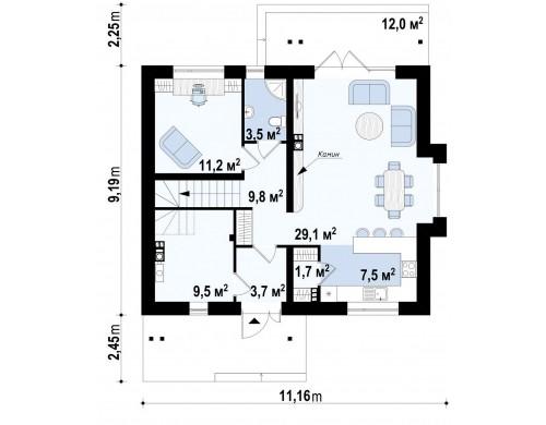 Проект практичного дома с большим хозяйственным помещением, с кабинетом на первом этаже - Z92