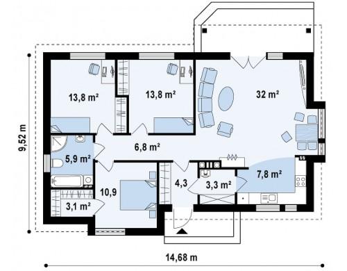 Проект функционального одноэтажного дома с современными элементами отделки фасадов - Z93