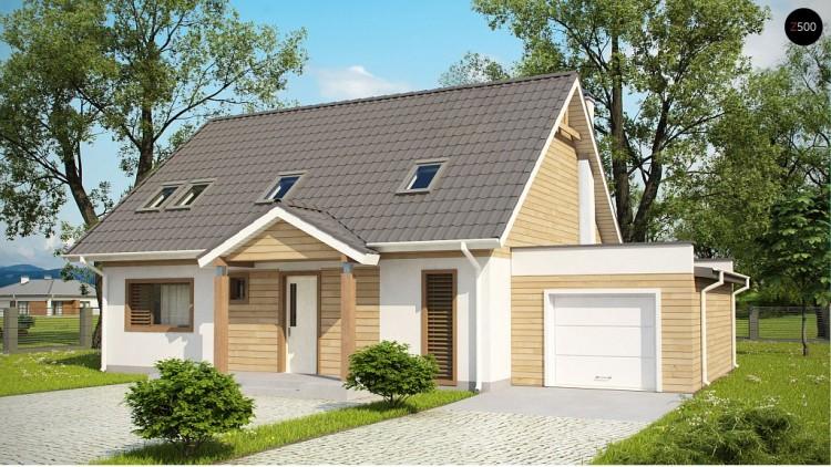 Проект Z95 GL Версия проекта Z95 с гаражом для одного автомобиля, пристроенного слева.  Проекты домов и гаражей