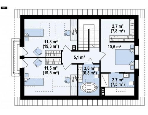 Проект Z95 A Мансардный дом, с деревом на фасадах и кабинетом на первом этаже.  Проекты домов и гаражей