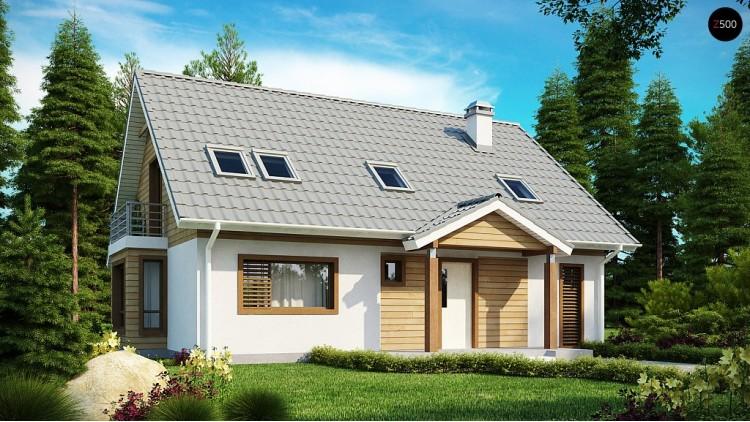 Проект дома с мансардой, с эркером и балконом, со стильным оформлением фасадов - Z95