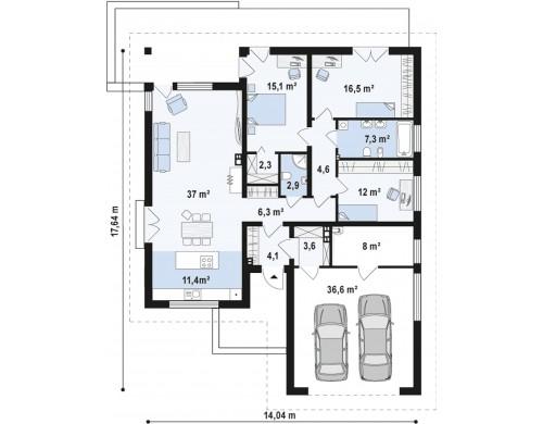 Проект дома Z96 с измененной формой крыши и с крытой террасой.
