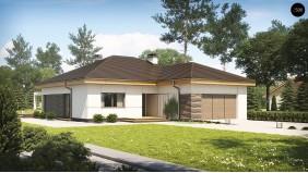 Z96 - проект одноэтажного дома с гаражом фронтальным выступающим и возможностью обустройства мансарды