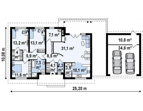 Проект дома Z98 с гаражом для двух автомобилей и измененной планировкой.