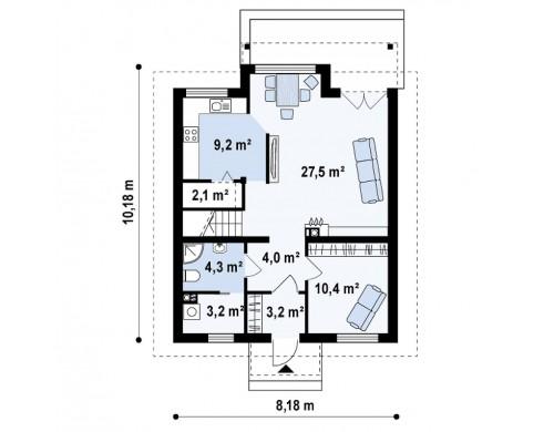 Проект дома с эркером и кухней, расположенными на южной стороне, а также с дополнительной спальней на первом этаже - Z99