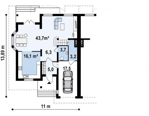 Проект домов близнецов с гаражом и дополнительным помещением на чердаке - ZB1
