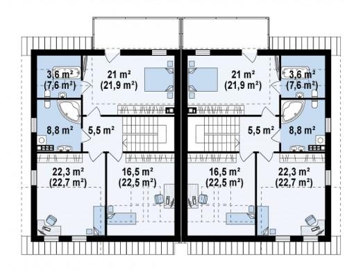 Проект двухсемейного дома для симметричной застройки современного дизайна.