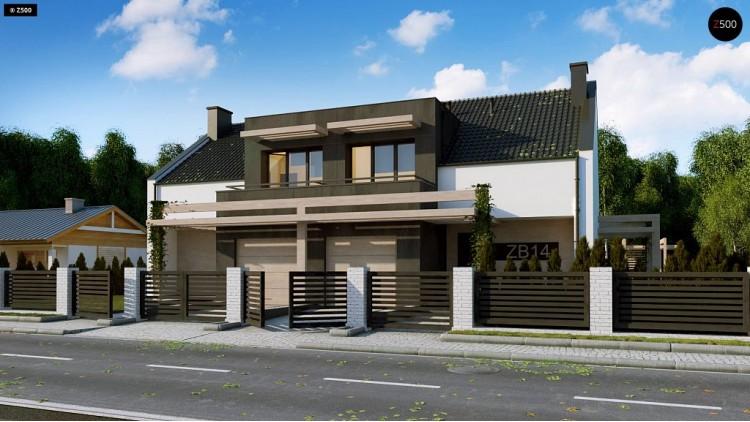 Проект Zb14 Проект дома дуплекс с гаражом и террасой  Проекты домов и гаражей