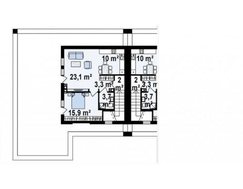 Проект Zb16 Современный проект домов-близнецов с большим гаражом и террасой на втором этаже.  Проекты домов и гаражей