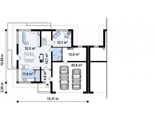 Проект просторного двухэтажного дома для симметричной застройки с террасой над гаражом - ZB2