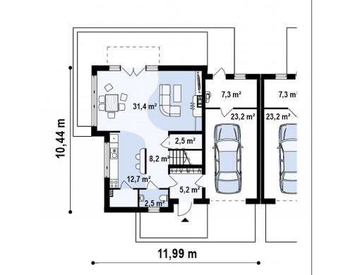 Проект дома для симметричной застройки с боковым гаражом - ZB3