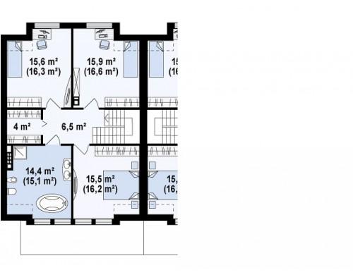 Проект дома близнеца стильного современного дизайна - ZB5