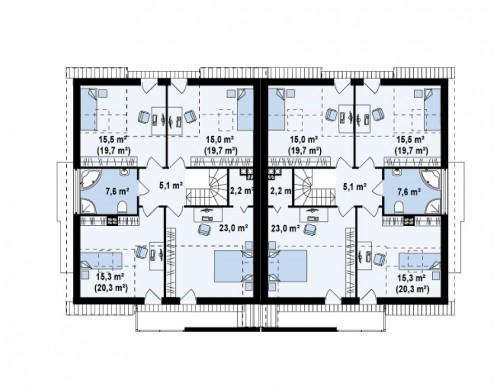 Проект дома для симметричной застройки с гаражом и дополнительной спальней на первом этаже - ZB6