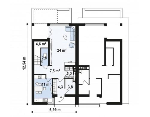 Проекты компактных домов близнецов в современном стиле с уютным интерьером - ZB7