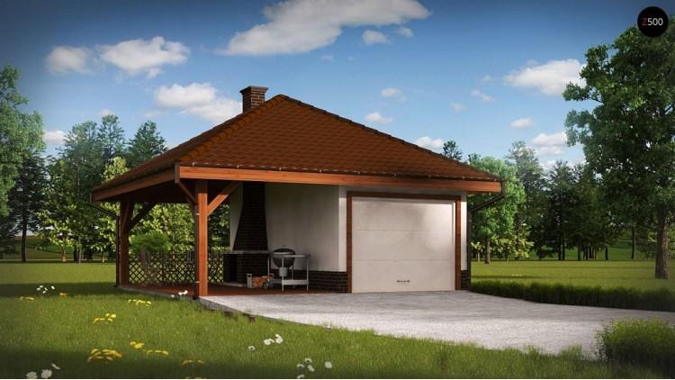 Проект Zg14 Проект гаража для одного автомобиля, для коттеджей традиционного дизайна  Проекты домов и гаражей