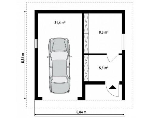 Проект Zg2 Гараж в традиционном стиле с подсобными помещениями  Проекты домов и гаражей