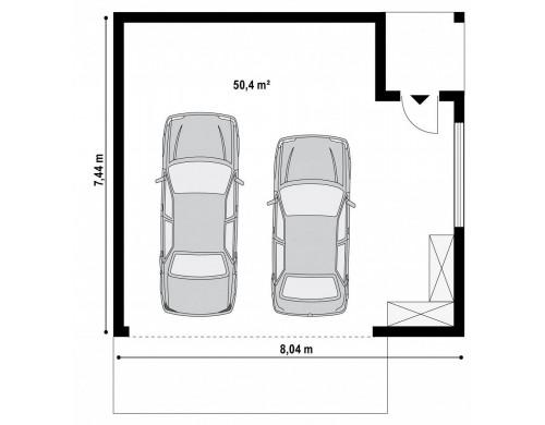 Проект Zg22 Проект стильного гаража с плоской кровлей для двух машин  Проекты домов и гаражей