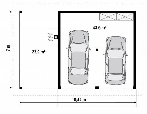 Проект Zg24 Проект красивого гаража для двух авто с боковой террасой  Проекты домов и гаражей