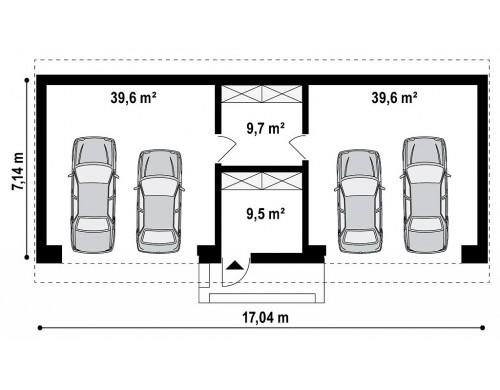 Большой стильный гараж для 4х автомобилей