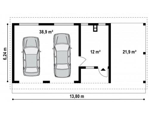 Гараж на 2 машины с двухскатной крышей