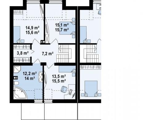 Проект современного дома энергосберегающей формы для последовательной застройки - ZS1
