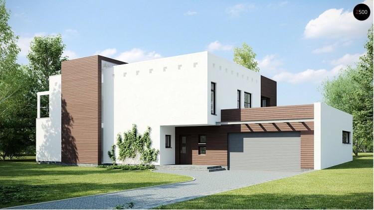 Проект дома кубической формы с террасой над гаражом - ZX1