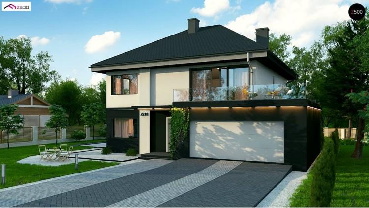 Проект двухэтажного дома простой формы с террасой над гаражом - ZX10