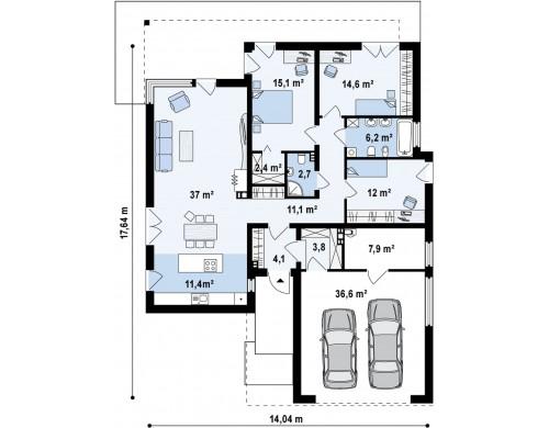 Проект одноэтажного дома модернистского характера с гаражом для двух автомобилей - ZX100