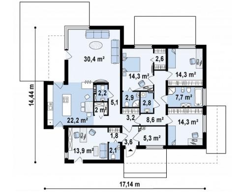 Проект одноэтажного дома в стиле хай-тек с четырьмя спальнями - ZX101