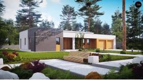 Комфортный одноэтажный дом в современном стиле с гаражом для двух авто - ZX102