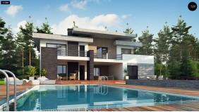 Проект Zx107 Красивый и комфортный дом с плоской кровлей, гаражом на две машины и просторными террасами.  Проекты домов и гаражей